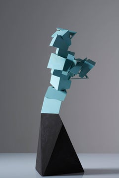 Turquoise Dream Roads - Abstract Ceramic Geometric Sculpture