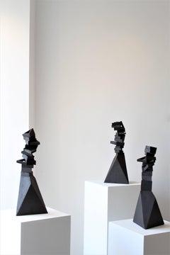 Black Dream Roads - Abstract Ceramic Geometric Sculpture