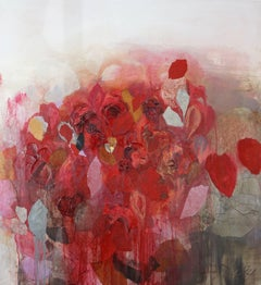 Seoul - Red, Abstract Flowers, Texture on stretched canvas
