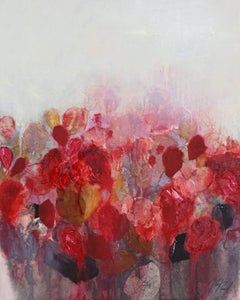 Blooming Seoul - Red, Abstract Flowers, Texture on stretched canvas
