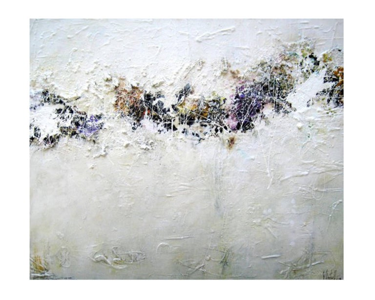 Purple String - Textured Flower Landscape painting White and Purple