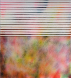 Display No 40 - Striped pink, green, blue painting