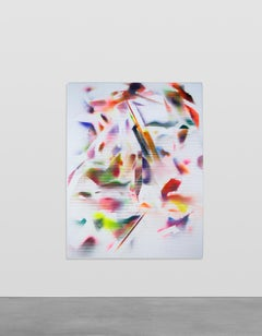Display Move No1 - Striped abstract painting in pink, green, blue, red