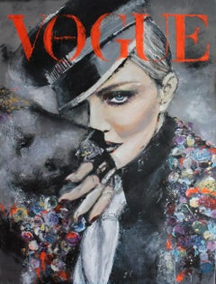 Madonna Portrait - Vogue Fashion inspired figurative painting in black, red