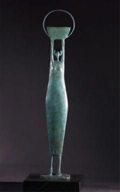 Harvest Moon - Bronze on green slate base sculpture of a female figure