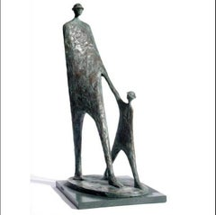 The Walk - Bronze resin on green slate base sculpture of a two figures