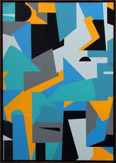 Untitled 028 - Geometric Abstraction with turquoise, black and blue
