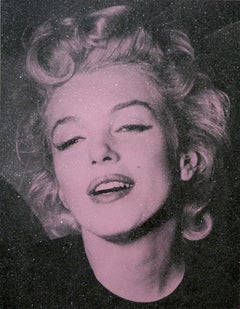 Marylin Monroe Diamond Dust - Pink Screen print on paper with diamond dust
