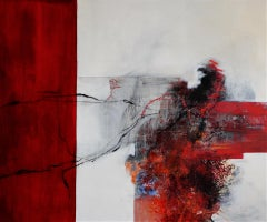 Lady in Red - Red, black and white minimal abstract painting