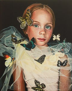 Le Petit Papillon - Colorful hyperrealist portrait painting of girl, butterflies