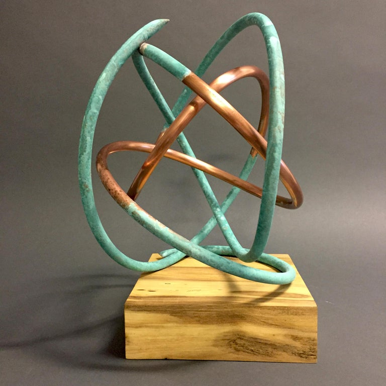 Copper in Verdigris Sculpture - Weather and polished copper on sycamore base