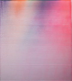 Display No 26 - Striped, geometric white and pink abstract painting