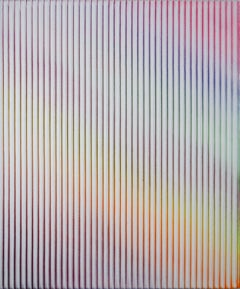 Display No 25 - Striped, geometric white and pink abstract painting