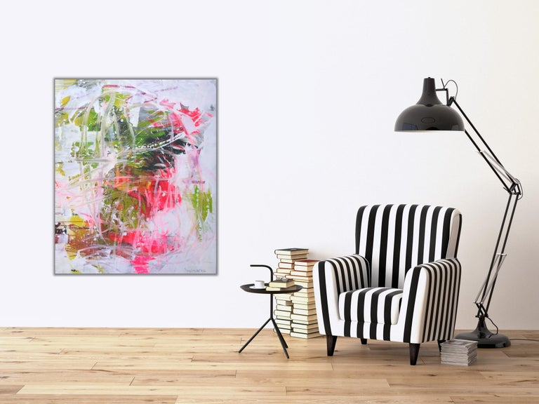 Always a good girl - Abstract painting Pink, Blue, Green, colorful bold art For Sale 1