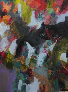 Nature's Depth - colorful Abstract landscape / contemporary  floral painting