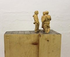 The Dispute - Wood sculpture, figurative sculpture, wood carving