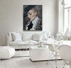 Take A Bow - Madonna Portrait - Vogue Fashion, figurative painting in black, red