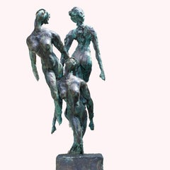 Nymphs by Emmanuel Okoro sculpture of nude female nymphs, black / green patina