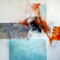Love Explosion by Ruth Schleeh -Blue minimal abstract, contemporary painting
