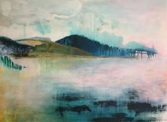 Dreams and Distant Shores by Kerri Pratt - Abstract Landscape Framed Painting