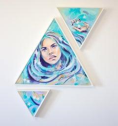 Blue Lagoon by Hannah Adamaszek, spraypaint portrait with 3 pieces on wood