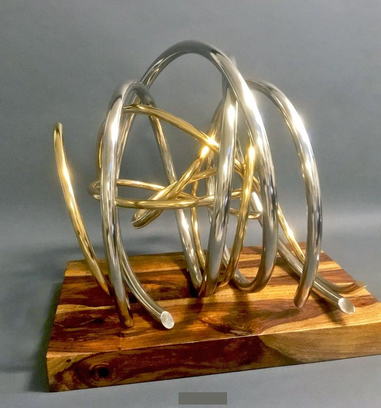 24ct Gold Plated Nickel Plated Copper Orb on 60yr old Reclaimed Acacia Wood base For Sale 1