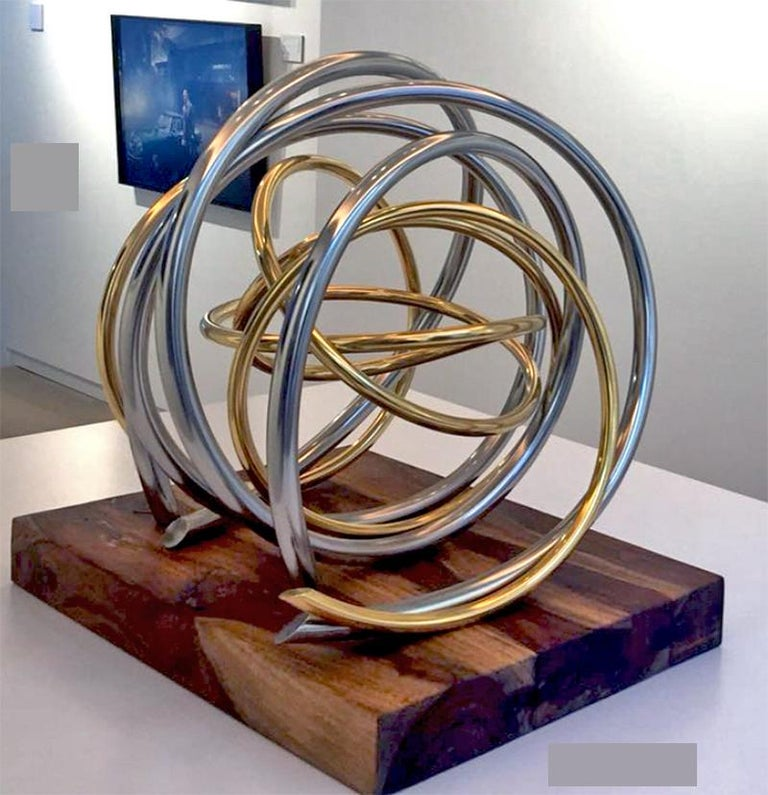 Mark Beattie Abstract Sculpture - 24ct Gold Plated Nickel Plated Copper Orb on 60yr old Reclaimed Acacia Wood base