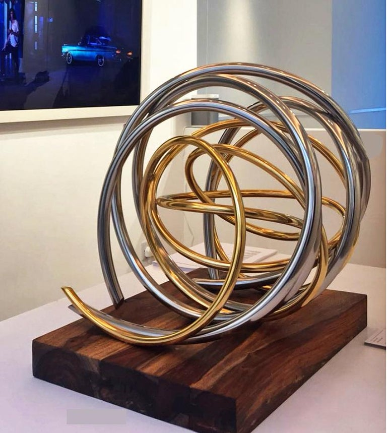 24ct Gold Plated Nickel Plated Copper Orb on 60yr old Reclaimed Acacia Wood base For Sale 2