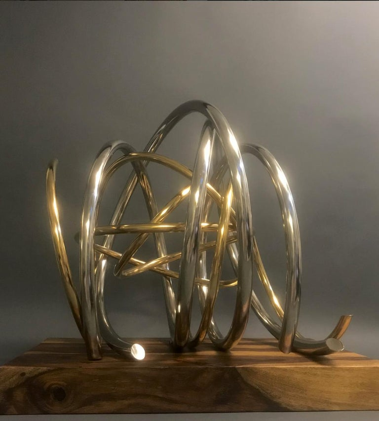 24ct Gold Plated Nickel Plated Copper Orb on 60yr old Reclaimed Acacia Wood base For Sale 3