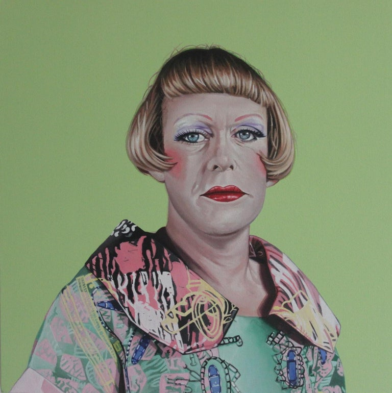 Portrait of Grayson Perry - Hyperrealist, Colorful Painting on Blue