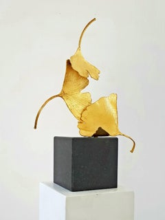 Golden Gingko by Kuno Vollet - Cast Brass golden sculpture on black granite base