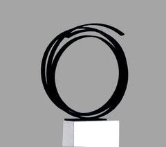Path by Kuno Vollet - Minimal Contemporary Black Circle Steel Sculpture