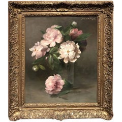 Still Life with Peonies in Glass Vase