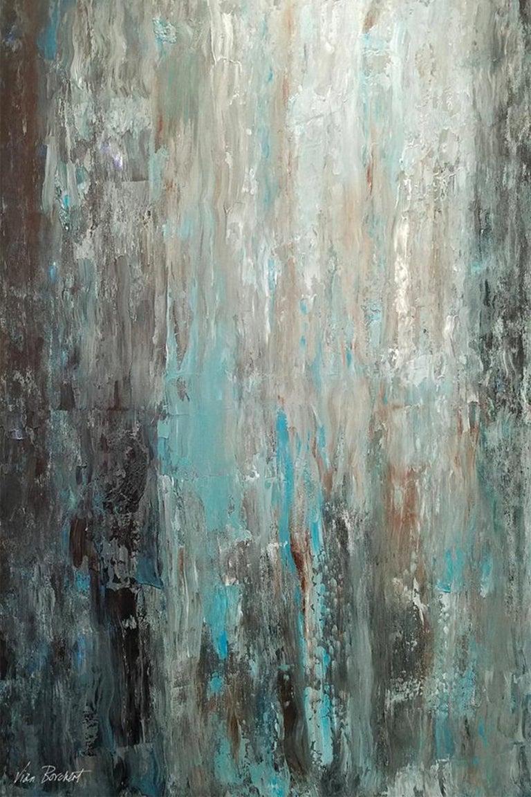 """Vian Borchert Abstract Painting - """"Light Blue, Light Green"""""""