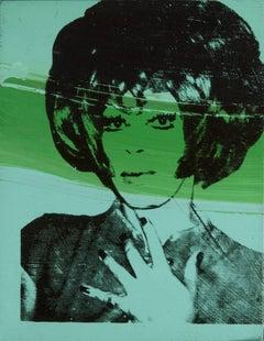 """Andy Warhol portrait of Helen/Harry Morales for """"Ladies & Gentlemen"""" 1975 green"""