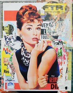 Hepburn - Decollage on canvas