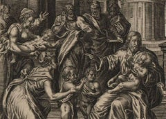 Christ Blessing the Children - 1585 Old Master Engraving Religious