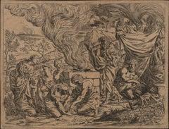 Noah Sacrifices to God - 1640 Old Master Etching Engraving Religious