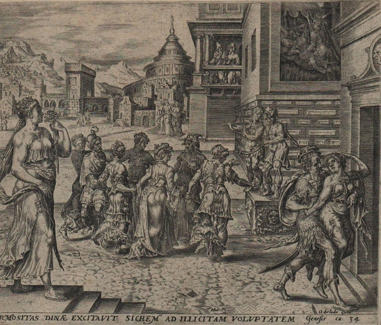 Dinah and Shechem - 1569 Old Master Engraving Religious