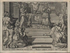 Zecharias Preaching in the Temple - 1564 Old Master Engraving Religious