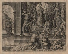 Joash and Queen Athaliah - 1567 Old Master Engraving Religious