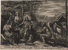 Eating Fish at the Sea of Tiberius - Old Master Engraving