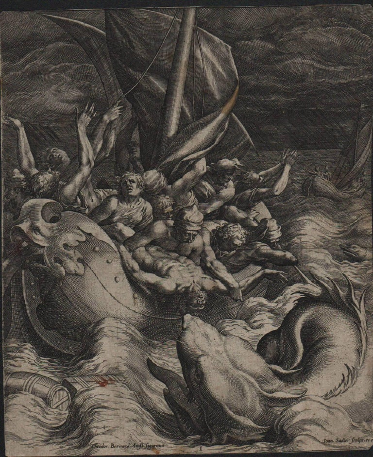 Jonah Thrown Into the Whale - 1582 Old Master Engraving Religious