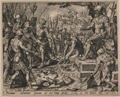 Gideon Receiving the Spoils - 1561 Old Master Engraving Religious