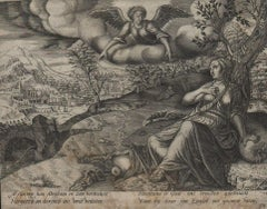 Hagar and Ishmael - 1563 Old Master Engraving Religious