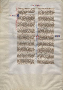 War and Peace - 1245 Latin Medieval Bible Manuscript Leaf - pen ink religious