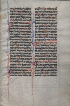 In the Shadow - 1240 Latin Medieval Bible Manuscript Leaf - pen ink religious