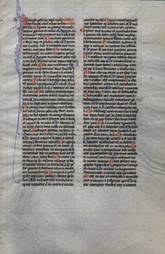 Prayer - Psalms - 1230 Latin Medieval Bible Manuscript Leaf - pen ink religious