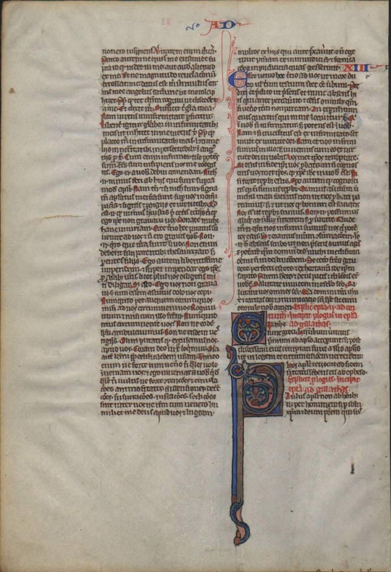 Signs of an Apostle - 1250 Latin Medieval Bible Manuscript - pen ink religious