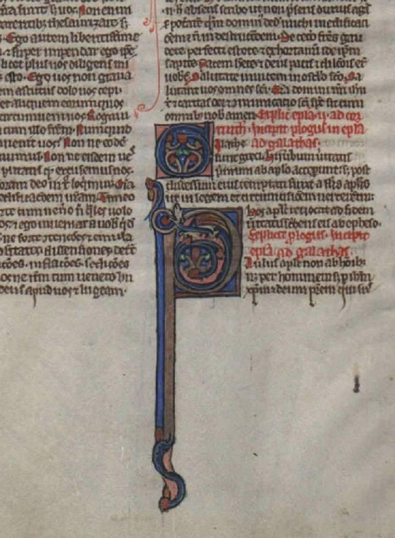 Signs of an Apostle - 1250 Latin Medieval Bible Manuscript - pen ink religious - Painting by Unknown